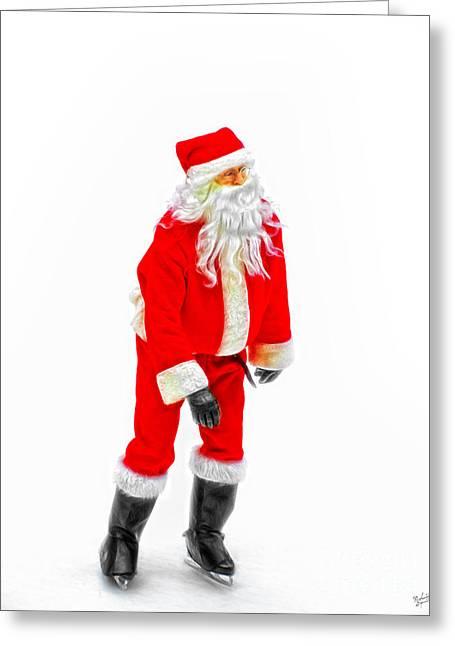 Ice-skating Greeting Cards - Skating Santa Greeting Card by Nishanth Gopinathan