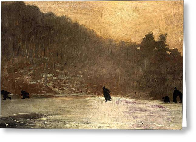 Winslow Homer Digital Art Greeting Cards - Skating Greeting Card by Winslow Homer