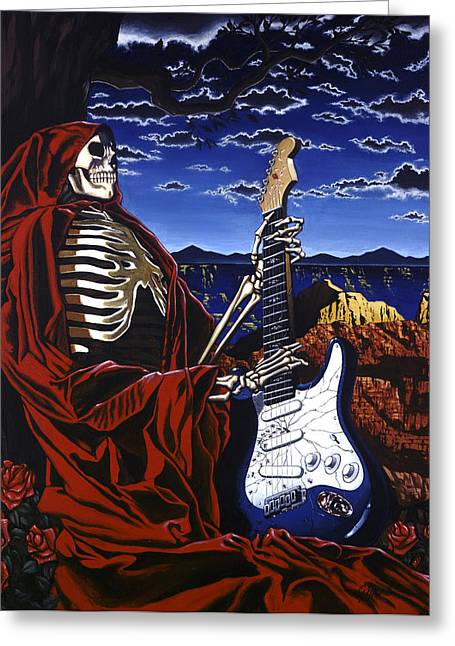 Rock And Roll Paintings Greeting Cards - Skeleton Dream Greeting Card by Gary Kroman