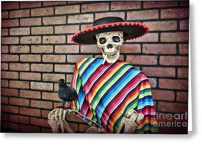 Evilness Greeting Cards - Skeleton Eastwood Greeting Card by Brenda Carson