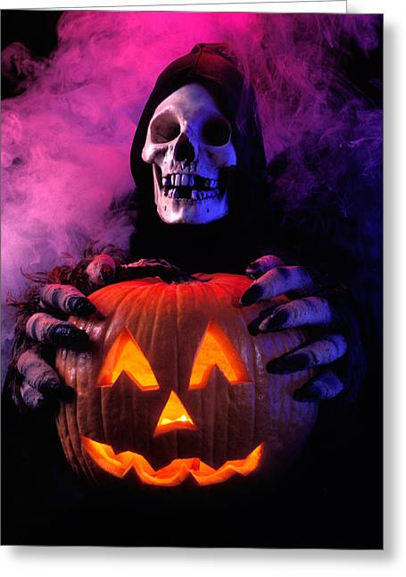 Abnormal Greeting Cards - Skeleton holding pumpkin  Greeting Card by Garry Gay