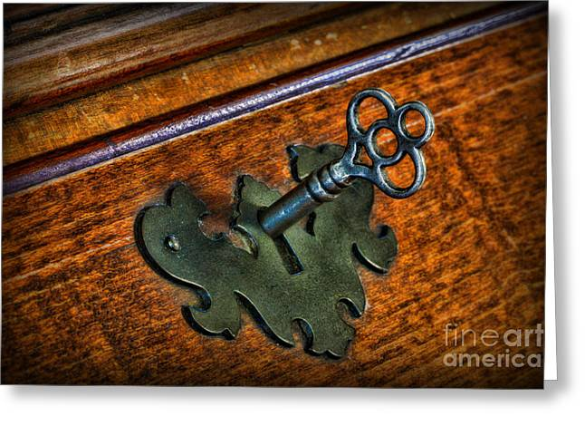 Square Format Greeting Cards - Skeleton Key in Old Desk Lock Greeting Card by Paul Ward