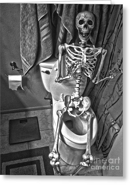 Skeleton On The Crapper Greeting Card by Gregory Dyer