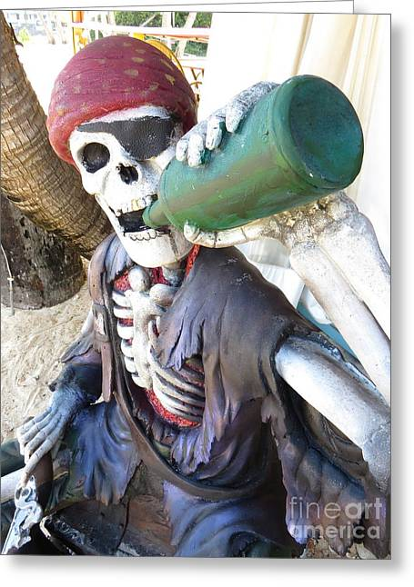 Patch Greeting Cards - Skeleton Pirate Greeting Card by Johnny A