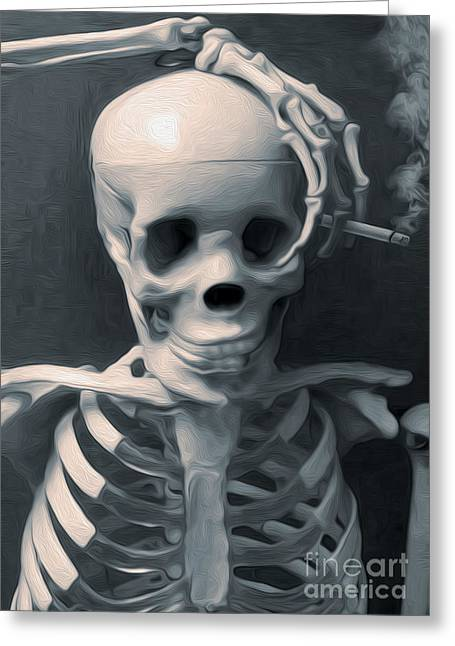 Skeleton Pose Greeting Card by Gregory Dyer