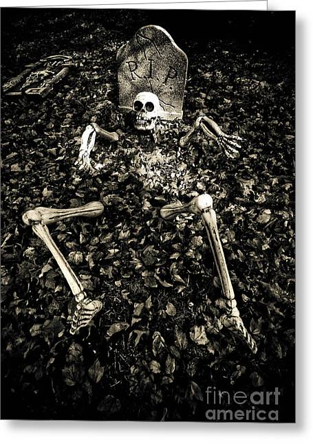 Headstones Greeting Cards - Skeleton Rising from the Dead Greeting Card by Amy Cicconi