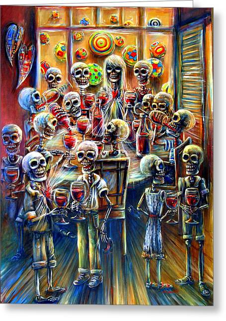 Mexican Fiesta Greeting Cards - Skeleton Wine Party Greeting Card by Heather Calderon