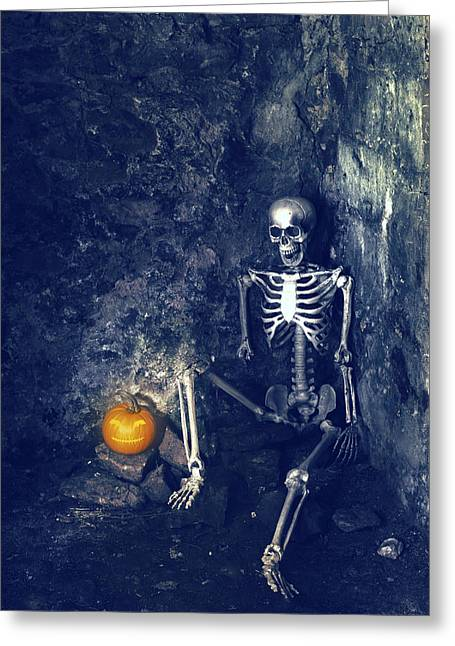 Skeleton With Jack O Lantern Greeting Card by Amanda And Christopher Elwell