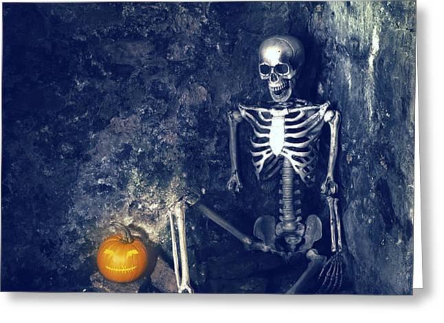 Skeleton With Jack O Lantern Greeting Card by Amanda And Christopher Elwell