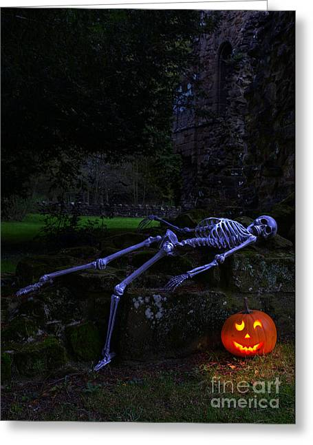 Halloween Night Greeting Cards - Skeleton With Pumpkin Greeting Card by Amanda And Christopher Elwell