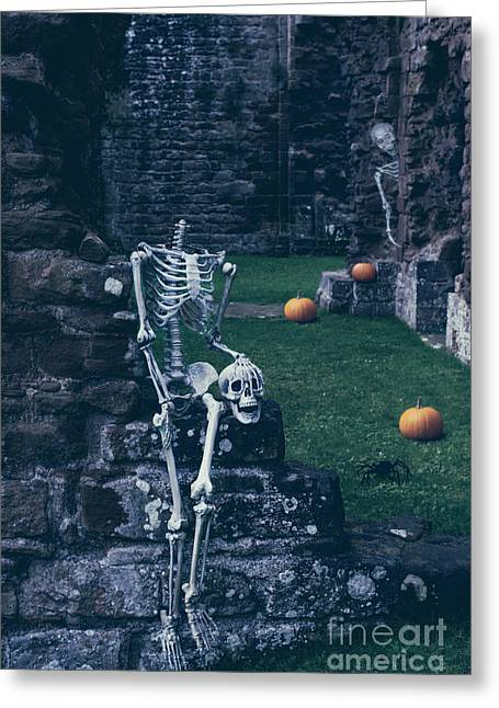 Halloween Night Greeting Cards - Skeletons In Old Abbey Greeting Card by Amanda And Christopher Elwell
