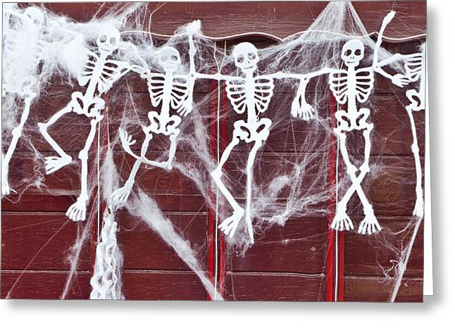 Holiday Theme Greeting Cards - Skeletons Greeting Card by Tom Gowanlock
