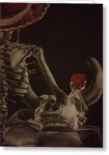 Human Pastels Greeting Cards - Skeletons with Rose Greeting Card by Megan Murray