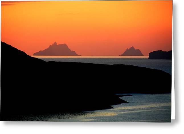 Skellig Islands  Greeting Card by Aidan Moran