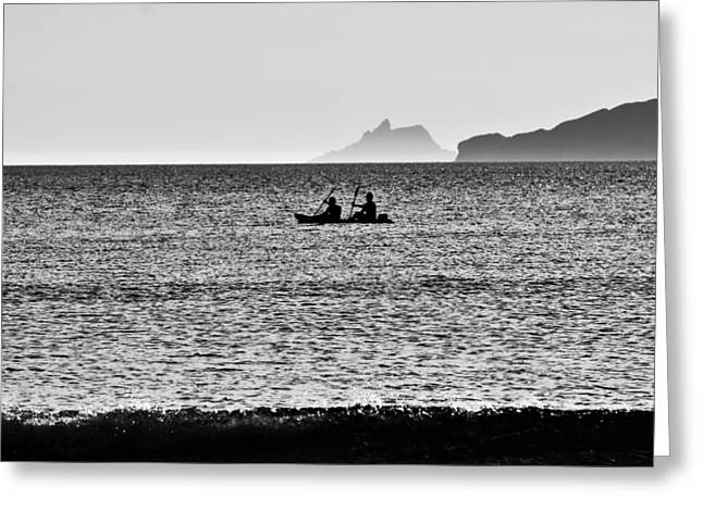 Boatman Greeting Cards - Skellig Islands Boatmen Greeting Card by Aidan Moran