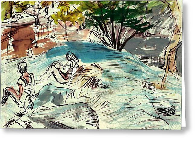 Nature Study Mixed Media Greeting Cards - Sketch artists in Central Park Greeting Card by Edward Ching