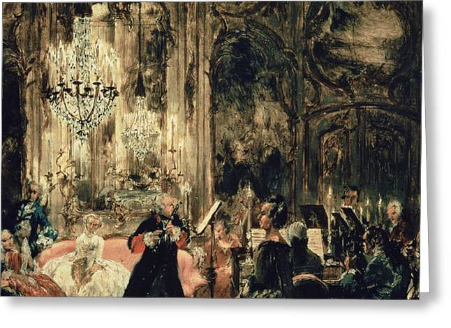 Sketch Greeting Cards - Sketch for The Flute Concert Greeting Card by Adolph Friedrich Erdmann von Menzel