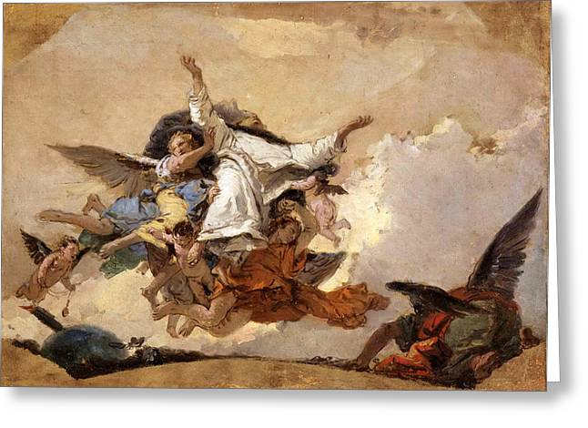 Giovanni Battista Tiepolo Greeting Cards - Sketch for The Glory of Saint Dominic Greeting Card by Giovanni Battista Tiepolo