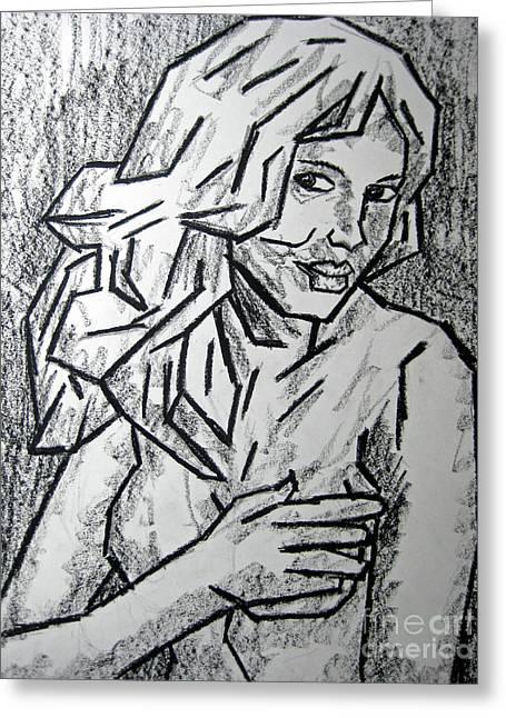 People Pastels Greeting Cards - Sketch - Nude 2 2011 Series Greeting Card by Kamil Swiatek
