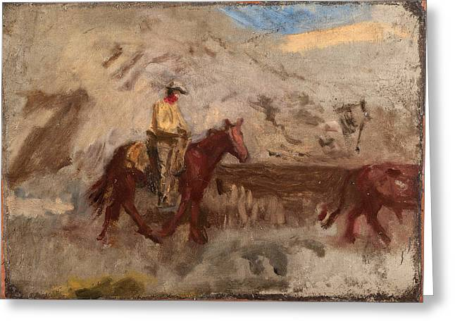 At Work Greeting Cards - Sketch of a Cowboy at Work Greeting Card by Thomas Eakins