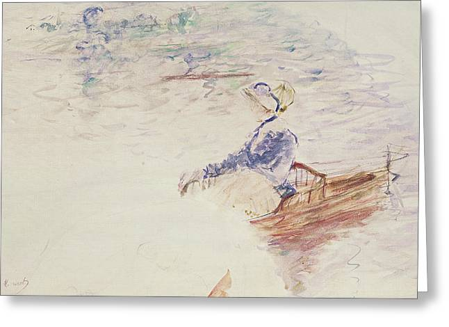 Boats In Water Greeting Cards - Sketch of a Young Woman in a Boat Greeting Card by Berthe Morisot