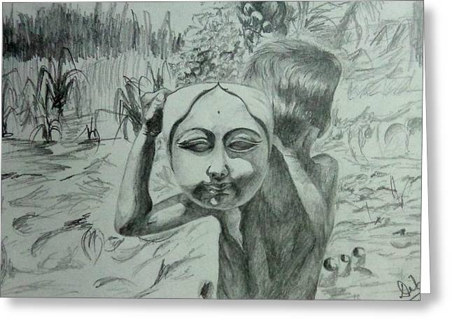 Durga Puja Greeting Cards - sketch of Child playing with God Greeting Card by Deb