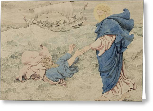 Sketch Of Christ Walking On Water Greeting Card by Richard Dadd