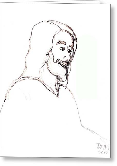 Smiling Jesus Digital Greeting Cards - sketch of Jesus Greeting Card by Dawna Morton