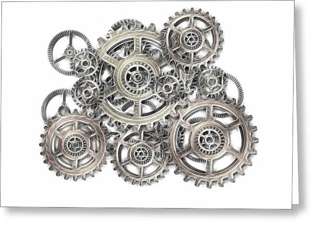 Industrial Background Mixed Media Greeting Cards - Sketch Of Machinery Greeting Card by Michal Boubin