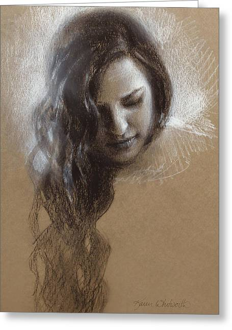 Conte Pencil Drawings Greeting Cards - Sketch of Samantha Greeting Card by Karen Whitworth