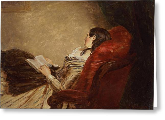 Chaise Paintings Greeting Cards - Sketch Of The Artists Wife Asleep Greeting Card by William Powell Frith