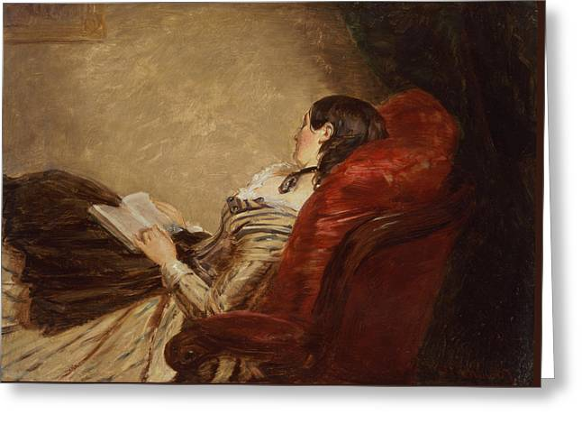Sketch Of The Artists Wife Asleep Greeting Card by William Powell Frith
