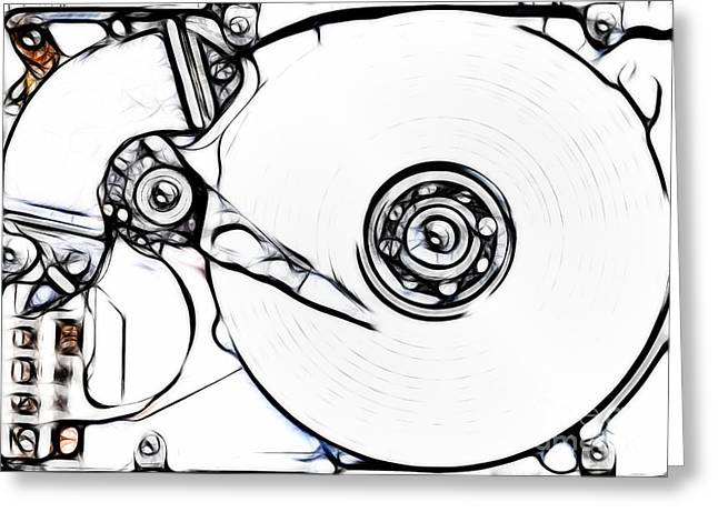 Component Mixed Media Greeting Cards - Sketch Of The Hard Disk Greeting Card by Michal Boubin