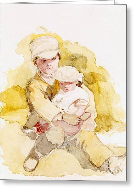 Embrace Greeting Cards - Sketch Of Two Children, C.1852 Greeting Card by Richard Redgrave