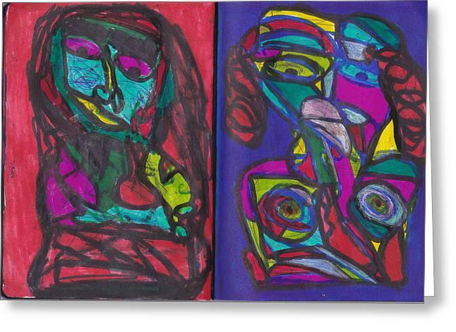 Block Print Drawings Greeting Cards - Sketchbook Image 4 Greeting Card by Darrell Black