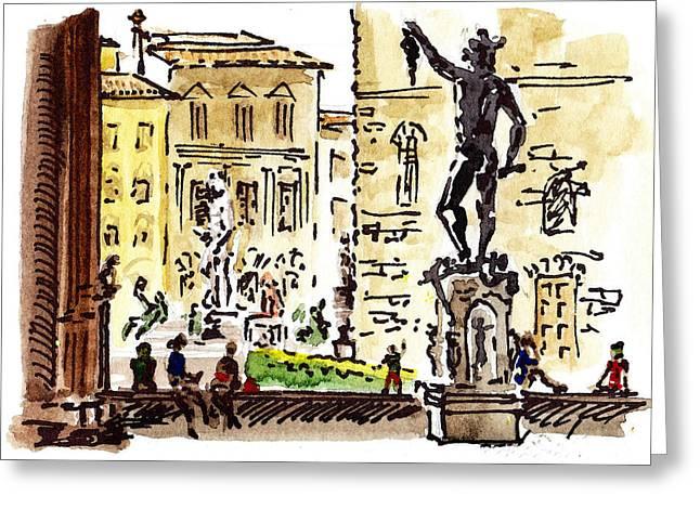 Vecchio Greeting Cards - Sketching Italy Florence Palazzo Vecchio Piazza Greeting Card by Irina Sztukowski