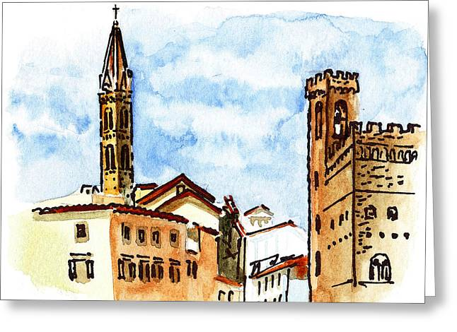 Aged Art Greeting Cards - Sketching Italy Florence Towers Greeting Card by Irina Sztukowski
