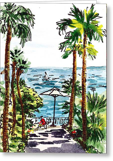 Sea View Greeting Cards - Sketching Italy Palm Trees Of Sorrento Greeting Card by Irina Sztukowski