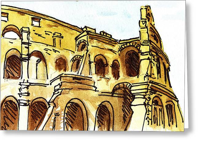 Cathedral Rock Greeting Cards - Sketching Italy Rome Colosseum Ruins Greeting Card by Irina Sztukowski