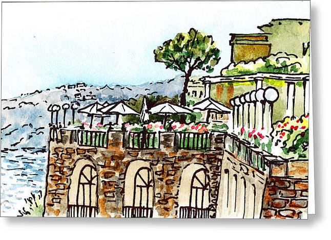 Restaurant Wall Decor Greeting Cards - Sketching Italy Sorrento Cliff Greeting Card by Irina Sztukowski