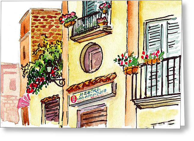 Flowerpots Greeting Cards - Sketching Italy Streets Of Sorrento Greeting Card by Irina Sztukowski