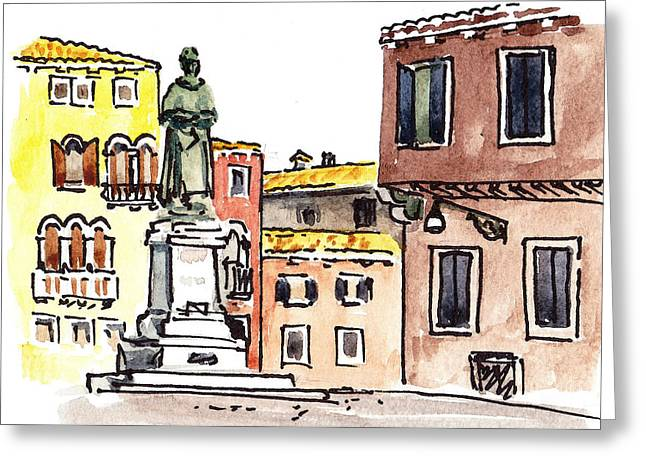 Aged Art Greeting Cards - Sketching Italy Venetian Piazza Greeting Card by Irina Sztukowski