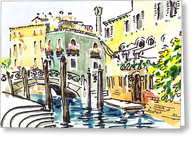 Aged Art Greeting Cards - Sketching Italy Venice Canale Greeting Card by Irina Sztukowski
