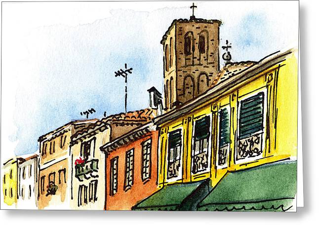 Aged Art Greeting Cards - Sketching Italy Venice Via Nuova Greeting Card by Irina Sztukowski
