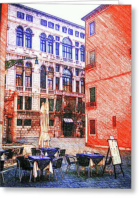 Restaurant Pastels Greeting Cards - Sketching Venice Greeting Card by Patrizia  Fazzari