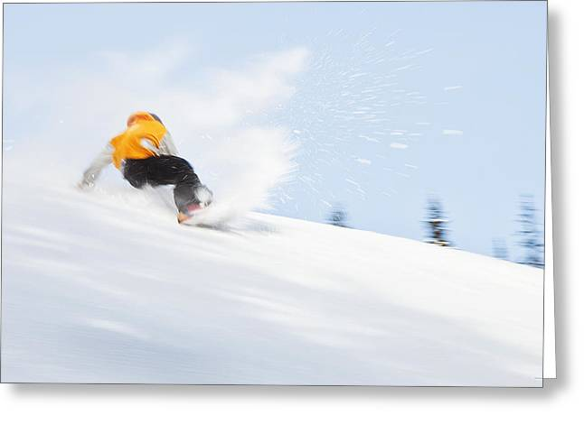 Ski Art Greeting Cards - Sketchy Landing Greeting Card by Theresa Tahara