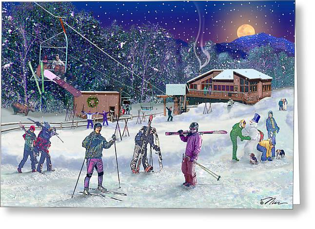 Downhill Skiing Greeting Cards - Ski Area Campton Mountain Greeting Card by Nancy Griswold