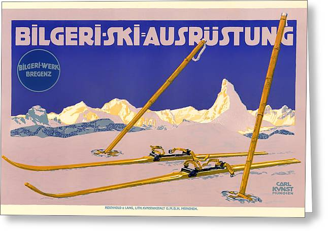 Skiing Art Posters Greeting Cards - Ski Austria 1910 Greeting Card by Mountain Dreams