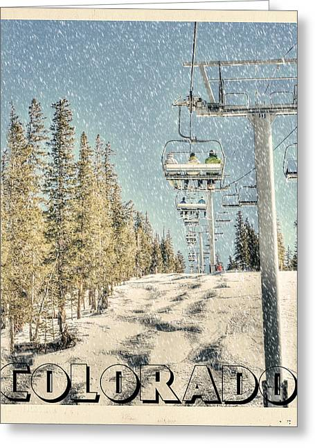 Chairlift Greeting Cards - Ski Colorado Greeting Card by Juli Scalzi