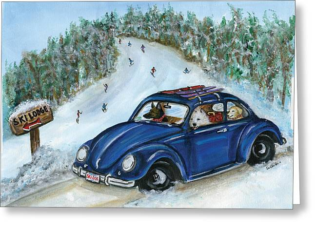 Heading Out Greeting Cards - Ski Dogs Greeting Card by Kim Arre-gerber